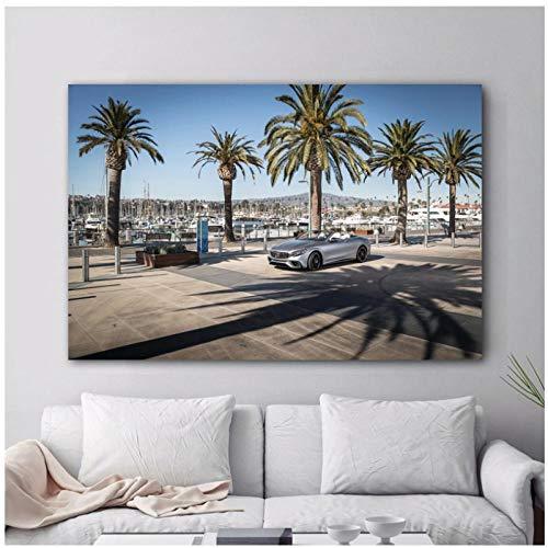 QYH Moderne Wandkunst Leinwand Gemälde Supercar AMG S63 4MATIC Cabriolet Palm Sea Bild Wohnzimmer Dekor Poster und Drucke 24x36 Zoll No Framed