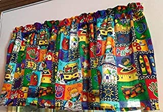Red Blue Green Yellow School Bus Classroom Crayons WINDOW CURTAIN VALANCE HandMade in the USA from COTTON FABRIC