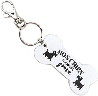 Les Trésors De Lily [P9208] - Portachiavi in ! ! Legno 'Messages' bianco (il mio cane assicura serio)- 7x3 cm.