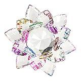 BTSKY - Adornos con forma de flor de loto hechos de cristal brillante de 100 mm, decoración para el hogar, decoración Feng Shui, vinilo, colorido