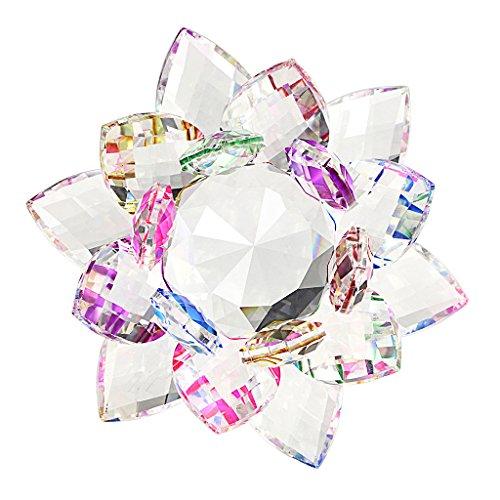 BTSKY Cristal de Ornamento de Flor de Loto Vidrio de Colores para Decoración en Hotel Boda Bar Hogar Oficina Fiesta(Con una caja para protección)