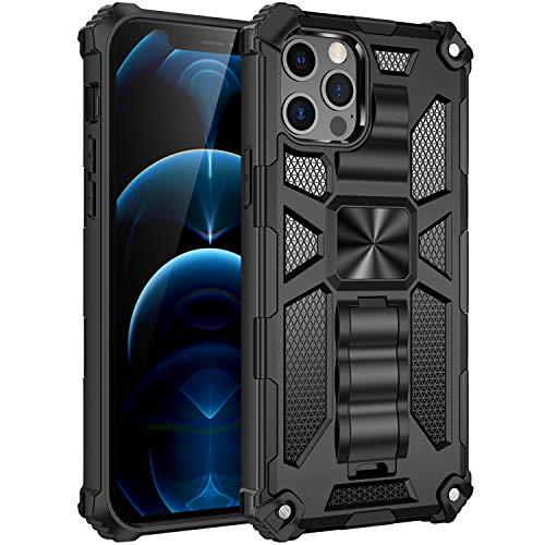 Fadter Funda para iPhone 12, anticaídas, antiarañazos, 360 grados, protección militar, TPU y policarbonato, delgada, con soporte, color negro