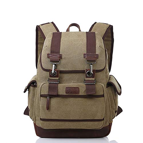 VENERATEFLL Canvas Rucksack einfarbig wasserdicht große Kapazität Leinwand Computer Rucksack Tasche für Outdoor-Bergsteigen Reisen