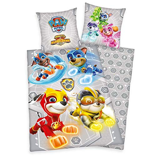 PAW Patrol Mighty Pups Kinder-Bettwäsche-Set 135x200 80x80 Baumwolle Bettzeug Herding