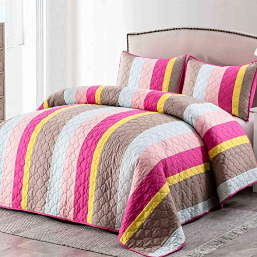 Patchwork Prewashed Cotton Batting Ultra Soft Quilt Coverlet Bedspread Set with Shams-Full/Queen Size Warm Bed Linen Cover-Reversible Breathable 3 Pieces Bedding Set-Yellow/Violet Red