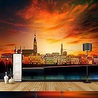 Djskhf 壁の3D壁紙3D装飾壁紙背景画壁画壁紙都市建築日没家の改善 160X100Cm