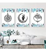 3 Stücke Moderne Blue Floral Allah Islamische Leinwand
