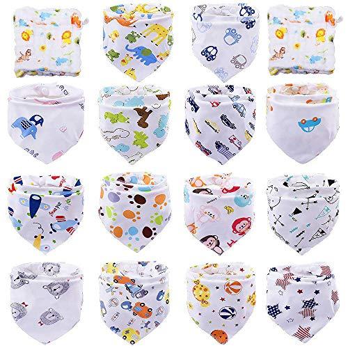 Tomkity 14 Baberos Bebe Bandanas Bufanda Toalla Drool Babas Tela para Bebé Niña Niño con 2 toallas (14+2 unisex)