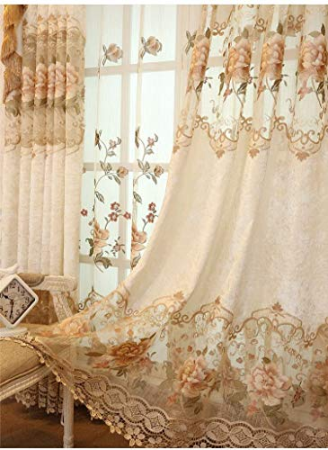TIYANA Luxury Embroidered Cloth Curtain for Living Room 84 inch Length Custom Romantic Elegant Luxurious Delicate Embroidery Drape Window Dressing Bedroom Grommet Top 1 Panel 52x84 inch