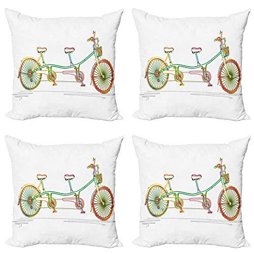 ABAKUHAUS Multicolor Set de 4 Fundas para Cojín, Tandem Diseño Bici, Estampado Digital en Ambos Lados y Cremallera, 50 cm x 50 cm, Multicolor