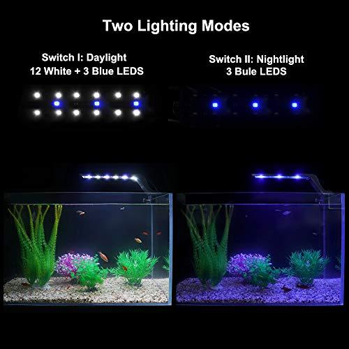 WOTERZI LED Aquarium Light Clip on Fish Tank Light with Adjustable Bracket for 14 - 22 Inch Freshwater Fish Tank & Aquarium, White and Blue LEDs