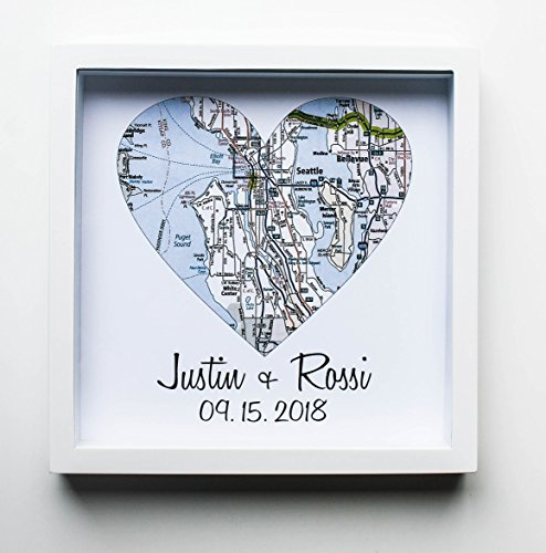 Heart Map Framed Art Map Heart Wedding Gifts for Couples Unique Wedding Gift Wedding Present Wedding Gift Ideas