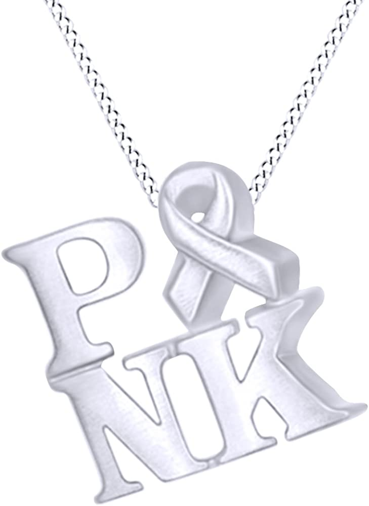 Don't miss the campaign AFFY Pink Ribbon Drop Pendant Necklace 14K in Sterling service Gold Over