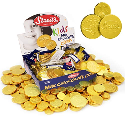 Streit's Milk Chocolate Gold Coins, Individually Wrapped Hannukah Coins, Hanukkah Gelt, Extra Large Coins (24-Pack)