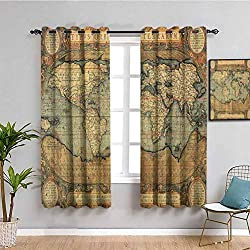 """☀ Printed pattern - Wanderlust Decor Collection,16th Century Map of the World History Adventure Boundaries Cartography Civilization Image,Olive. ☀ You will find two 31.5"""" wide x 45"""" long curtain panel in package. The design of silver grommet (1.6-inc..."""
