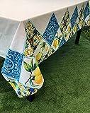1KDreams tovaglia Rettangolare da tavola in Cotone. Decorazione Moderna, Elegante, Limoni, maioliche, Piastrelle. Made in Italy (150x180 cm)