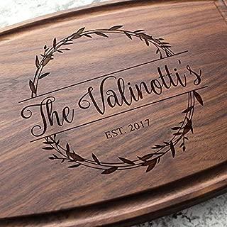 Rosemary Branch Round Garland Personalized Cutting Board - Engraved Custom Arched Cutting Board, Wedding, Engagement, Bridal Shower, Housewarming, Closing Gift W-040 GB