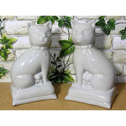 GR 2er Set Deko-Figur Katze 18cm Porzellan beige Katzenfigur Kätzchen Statue Baby