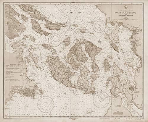 "San Juan Islands 1933 (Sepia) - Vintage Map Reproduction - Nautical Decor - Wall Art (13""x19"")"