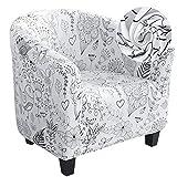 Dihope Chesterfield-Sesselbezug, bedruckt, Club-Sessel, elastisch, waschbar, rutschfest, 1 Stück, abnehmbar, Tub Chair mit modernem Muster (A-Weiß)