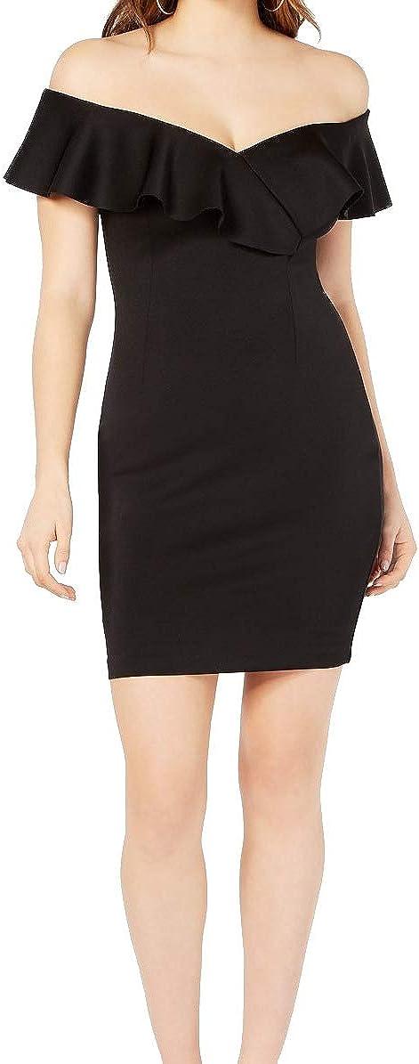 GUESS Women's Shaye Off-Shoulder Scuba Dress Jet Black