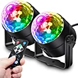 Apeocose 2-Pack Disco Ball Party Lights Sound Activated Strobe Lights, RGB Rotating DJ Lighting with Wireless Remote Control for Home Decorations Dance Karaoke Bachelorette Birthday Zumba Halloween
