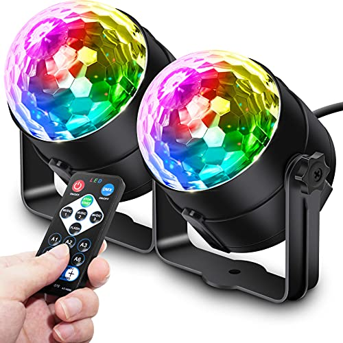 Apeocose 2-Pack Disco Ball Strobe Lights Party Lights, Sound Activated RGB Rotating DJ Lighting with Wireless Remote Control for Home Decorations Dance Karaoke Birthday Bachelorette Graduation Zumba