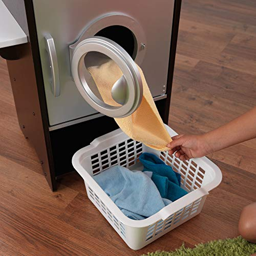 KidKraft Laundry Playset Children's Pretend Wooden Stacking Washer and Dryer Toy with Iron and Basket , Espresso, Gift for Ages 3+