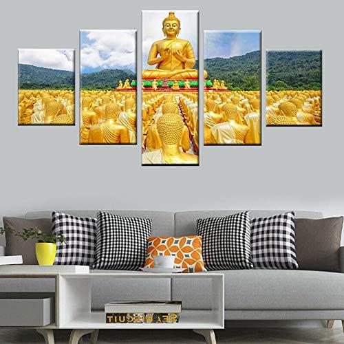 Hochauflösende Drucke 5 Golden Buddha Wohnzimmer Moderne Kunst Poster Gemälde Wohnkultur Leinwand Gemälde,Rahmenlose Malerei,40x60cmx2, 40x80cmx2, 40x100cmx1