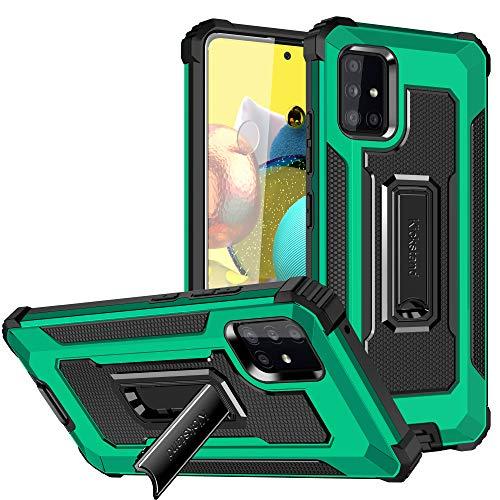 Funda para Samsung Galaxy A71 5G, funda para teléfono móvil de TPU suave silicona con soporte, resistente a los golpes, antiarañazos, calidad militar, protección para Samsung A71 5G (verde oscuro)