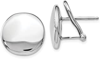 925 Sterling Silver Omega Back Post Studs Earrings - 15mm x 14mm