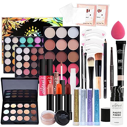 JasCherry 25 Piezas Todo en uno Juego de Maquillaje Completo Set Mujeres Estuche de Maquillaje Paleta Vacaciones Kit - Cosmético de Belleza Juego de Regalos pour Cara y Labio Make-up #7