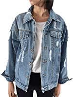 Beskie Oversized Denim Jacket for Women Girls Ripped Destoryed Long Sleeve Boyfriend Jean Jacket Loose Coat