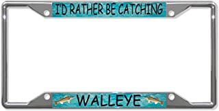 I/'D RATHER BE FISHING FISH Metal License Plate Frame Tag Holder