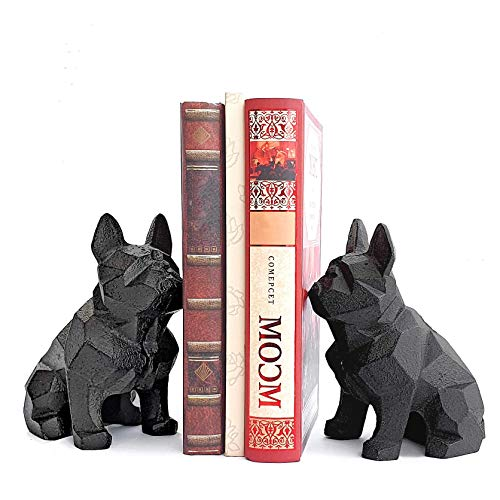 Ambipolar Decorative Bookends Geometric Dog Theme  Heavy Duty Cast Iron Dog Statue Vintage Shelf Decor Antique Black 2 Pack T58