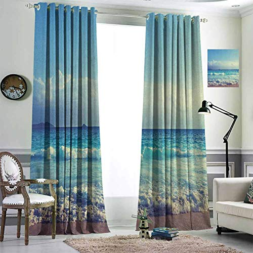 Jktown Tropical Island Blackout Curtains for Bedroom Blackout Draperies for Baby Bedroom 84x84 inch Ocean Waves on Seychelles Beach at The Sunset Time Skyline Turquoise Sky Blue Umber