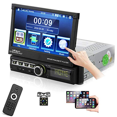 """Car Stereo Receiver Single DIN Head Unit in-Dash 7"""" HD Digital Touchscreen Display Audio/Video Player Support Bluetooth USB FM SD AUX-in Mirror Link with Backup Cameraby Podofo"""