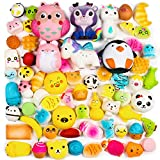 BeYumi Random 16 PCS Squishy Toys(Including 15 PCS Mini + 1 PC Free Big Squishy),Kawaii Soft Cream Scented Slow Rising Food and Animals for Children Toy