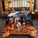 Erosebridal Steppdecke für Jungen & Jugendliche, 3D-Wildtier-Muster, gesteppte Steppdecke, Westernlandhaus-Thema, Cowboys, Bettdecke, volle Größe, Afrika, Wildpferde, gedrucktes Lightning-Dekor