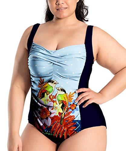 Sunshine swing Women's One Piece Swimsuit Light Blue Bird Halter Swimwear Tummy Control Ruched Padded Bathing Suits Bikini Plus 4XL