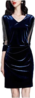 Howely Women V-Neck Velvet Elegant Basic Bodycon Pencil Short Dress