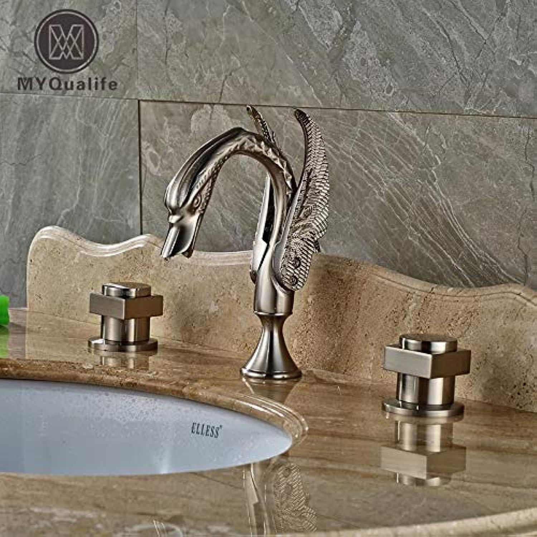U-Enjoy Kronleuchter Doppel Platz Luxus Griffe Wasserhahn Top-Qualitt Deck Badezimmer Berg Nickel Gebürstet Waschbecken Mixer Swan Taps Nickle Kostenloser Versand