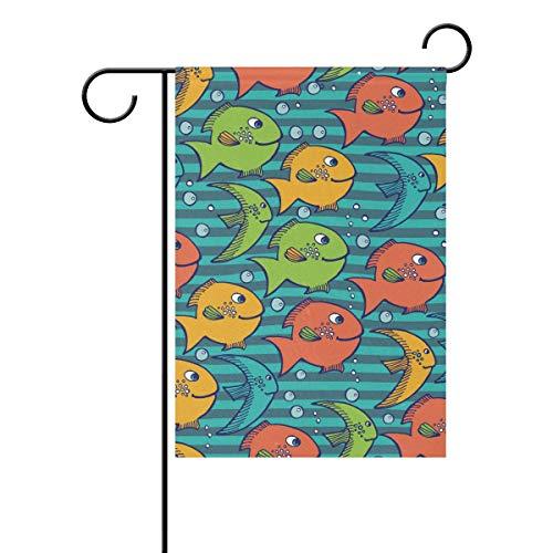 Jessgirl Bunte Fischblase Welle 12x18 Zoll Gartenflaggen Doppelseitige Bauernflaggen Willkommen Hof Outdoor Dekor Saisonal