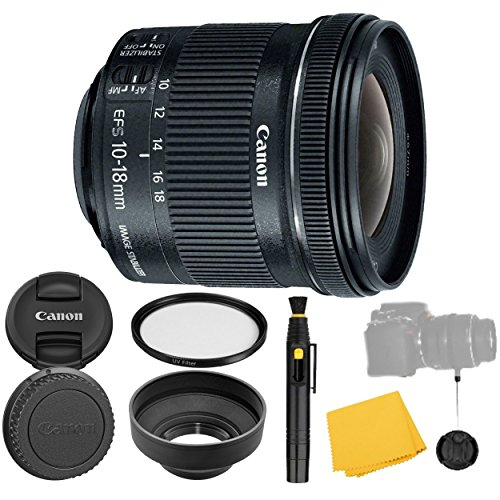 Canon EF-S 10-18mm f/4.5-5.6 is STM Lens + UV Filter + Collapsible Rubber Lens Hood + Lens Cleaning Pen + Lens Cap Keeper + Cleaning Cloth - 10-18mm STM: Stepper International Version (No Warranty)