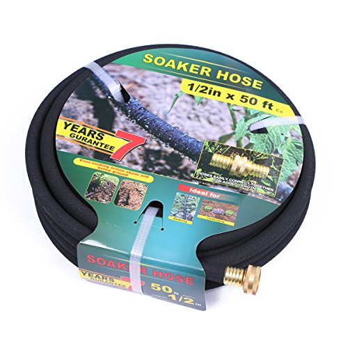 Taisia Soaker Hose 50 ft with 1/2'' Diameter - Bronze interface Saves 70% Water Perfect Delivery of Water Great for Garden Flower Bed(1-2-50ft-B)