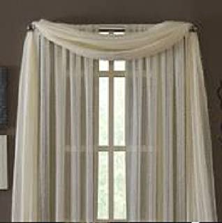 MONAGIFTS BEIGE IVORY CREAM OFF WHITE Scarf Voile Window Panel Solid sheer valance curtains 216