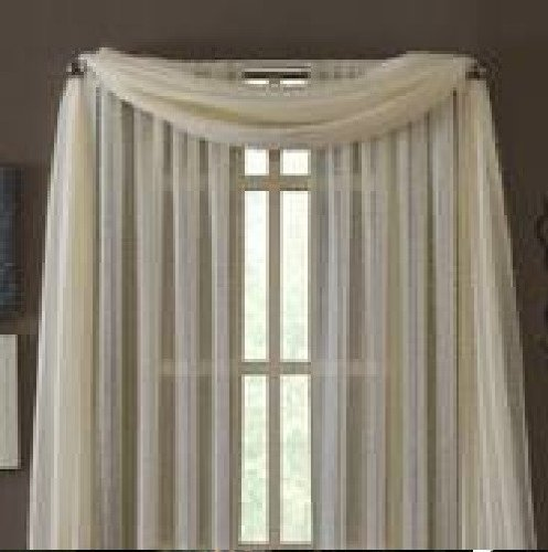"""MONAGIFTS BEIGE IVORY CREAM OFF WHITE Scarf Voile Window Panel Solid sheer valance curtains 216"""" LONG"""