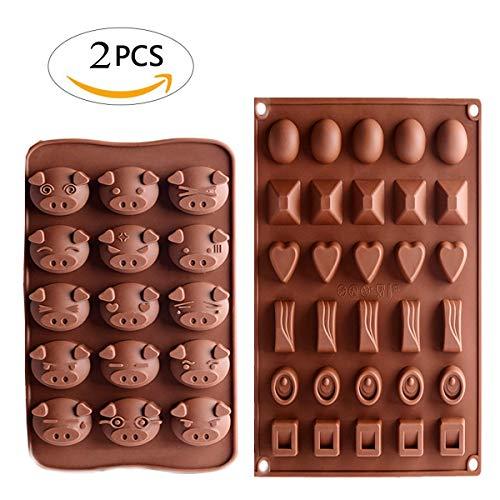 Mengger Molde de Silicona de Chocolate en Forma Bandeja Jaleas Helados para Manualidad Dulces Bombones Café niños juguete 2 Piezas