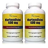 Mariendistel Extrakt 400mg 480 Kapseln 2 Packungen a 240 Kapseln