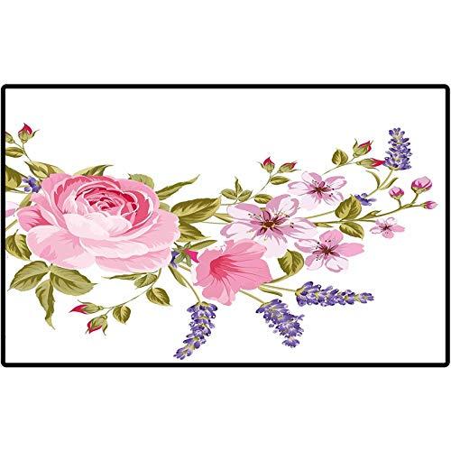 RenteriaDecor Lavender Front Indoor Outdoor Doormat Bridal Style Garland of Rose Sakura and Lavender Vintage Artistic Bouquet Flora Doormat for Indoor Outdoor, Easy Clean 48x30